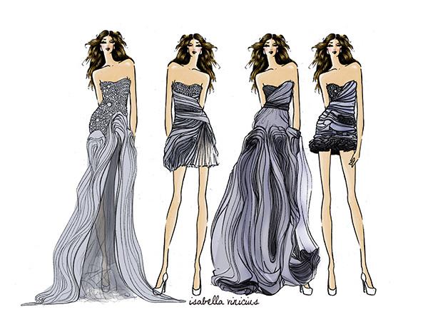 fashion design sketches of dresses